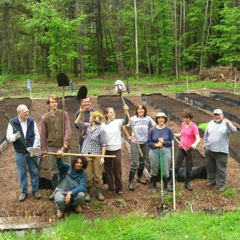 GALA volunteers installing raised beds for Wolfeboro Food Pantry